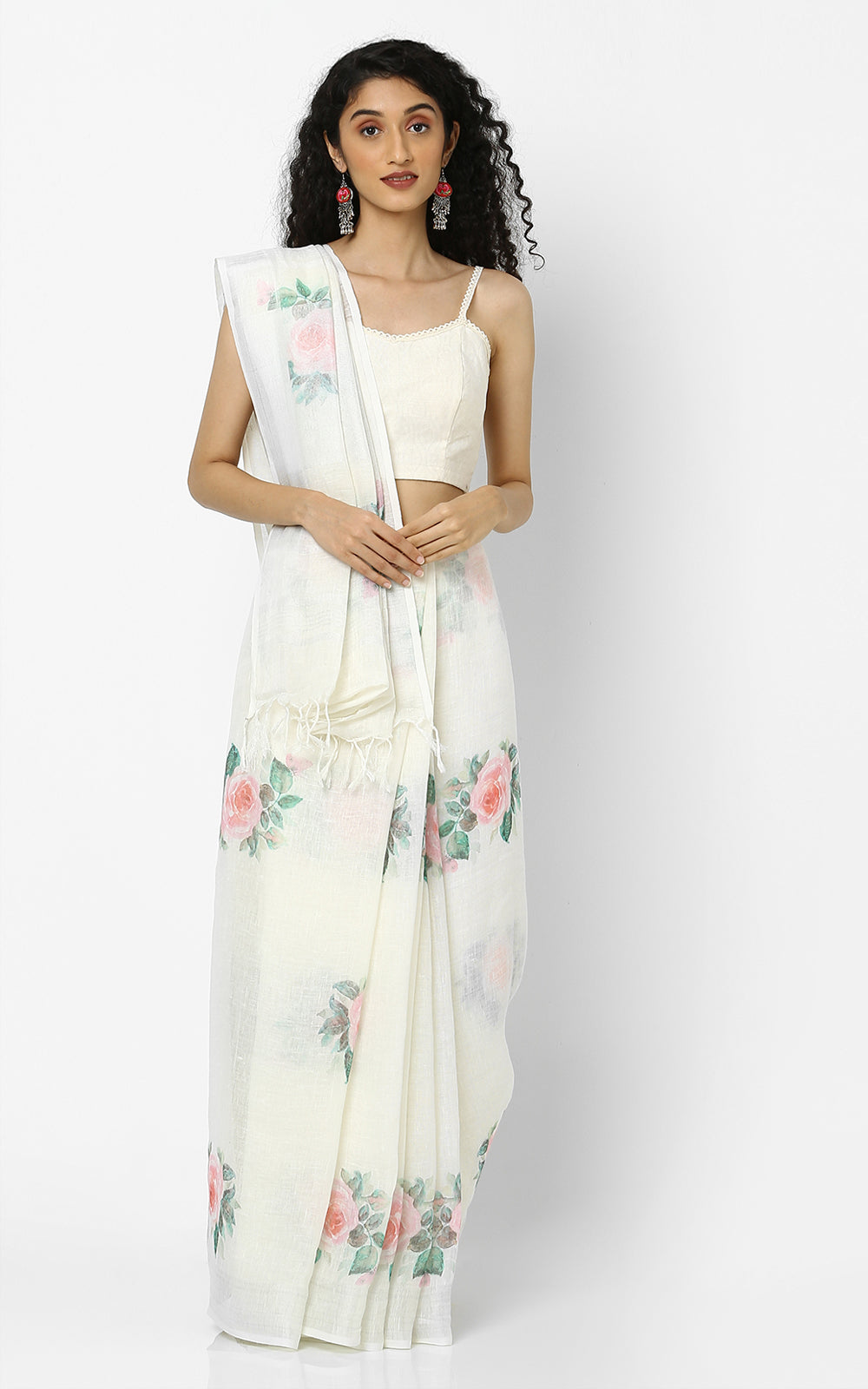WHITE LINEN SAREE WITH ROSES