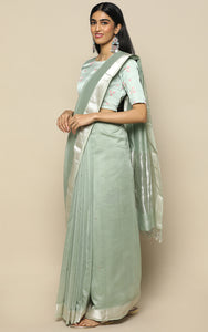POWDER GREEN CHANDERI SILK SAREE WITH SELF COLOR HAND EMBROIDERY