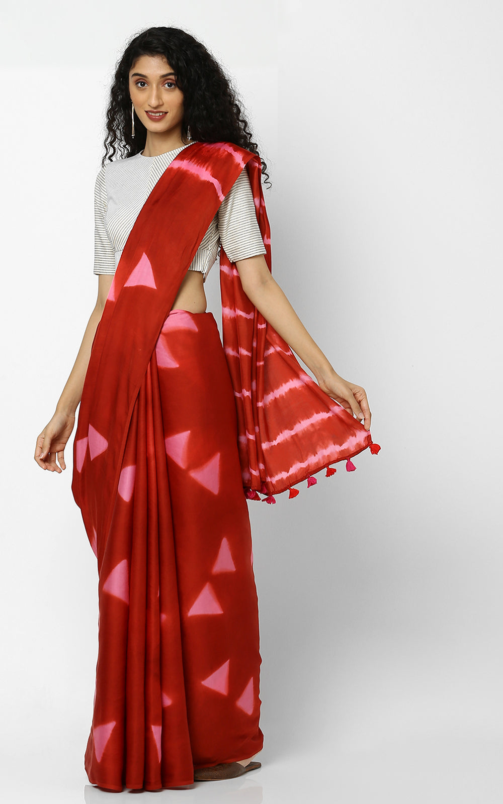 SHIBORI PURE SILK IN RED