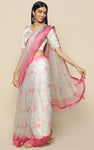 IVORY ORGANZA SILK SAREE WITH PRINTED FLOWERS IN PASTELS WITH PINK BORDER