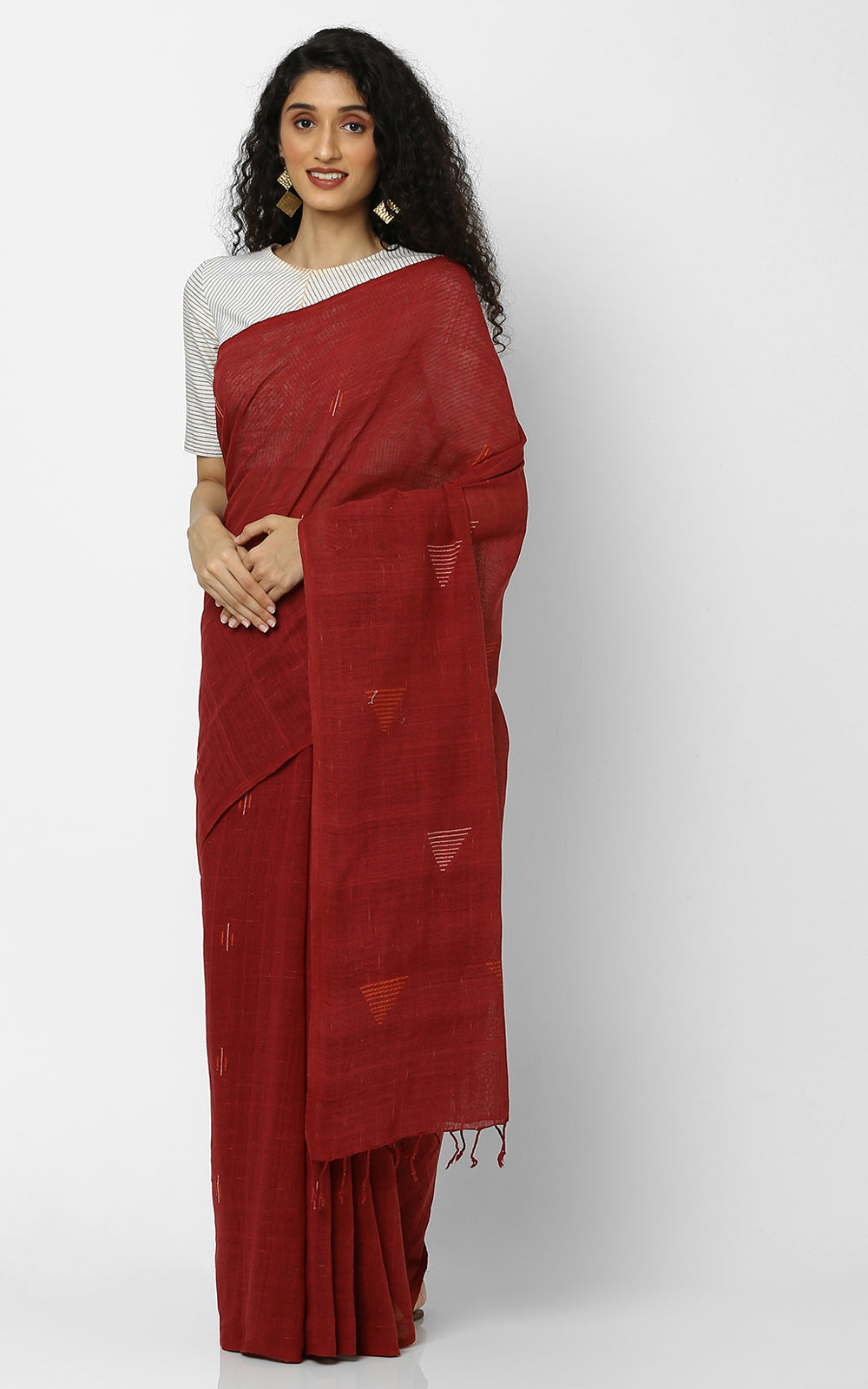 MADDER RED ORGANIC COTTON YARN DYED SAREE