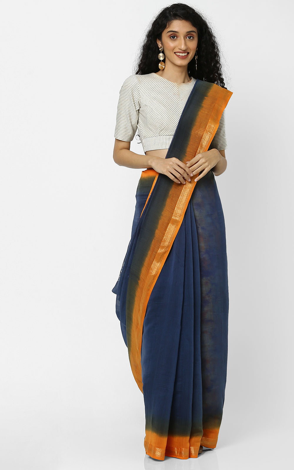 CHANDERI SILK SAREE WITH DYE