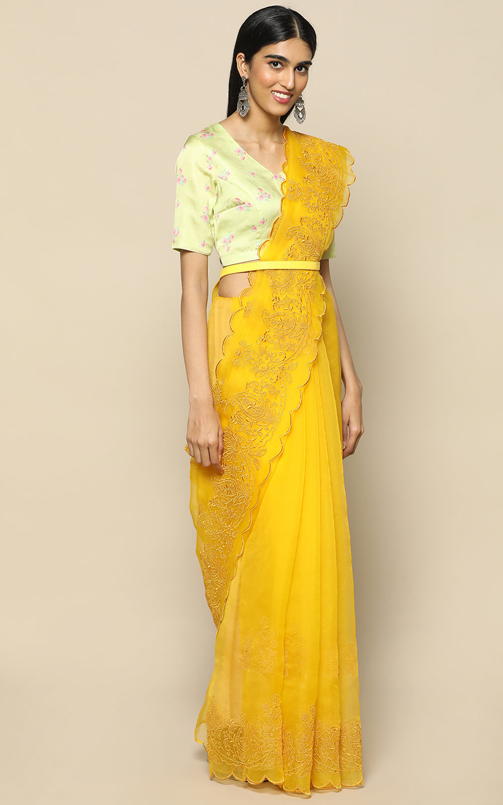 FRESH LIME YELLOW ORGANZA SILK SAREE WITH EMBROIDERY