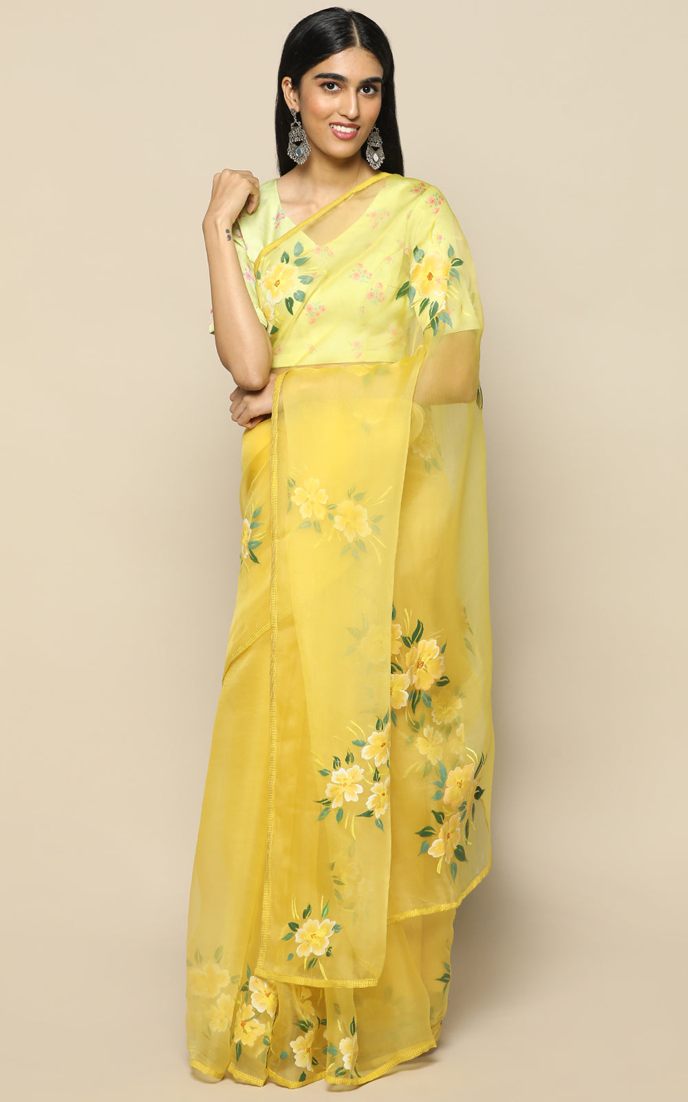 MUSTARD ORGANZA SILK SAREE WITH HANDPAINTED FLOWERS
