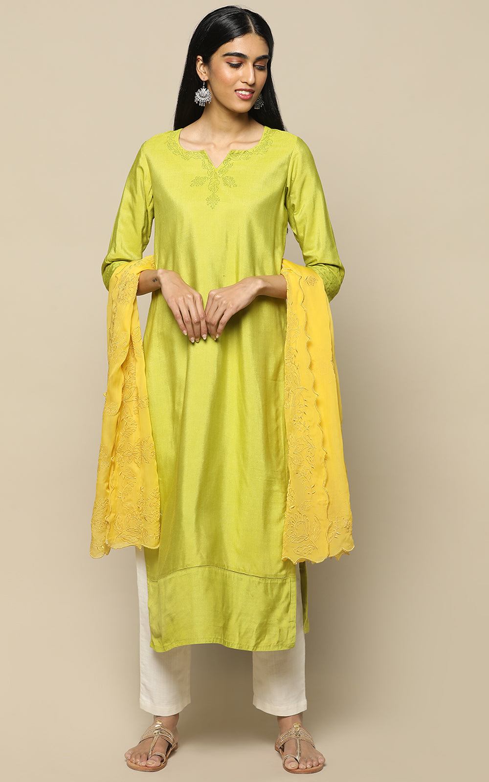 LEAF GREEN STAPLE SILK KURTHA WITH BLOCK PRINT AND MUSTARD EMBROIDERED DUPATTA