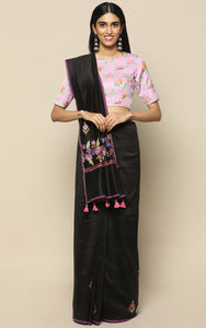 BLACK HANDWOVEN CHANDERI SILK SAREE WITH KASHMIRI HAND EMBROIDERY