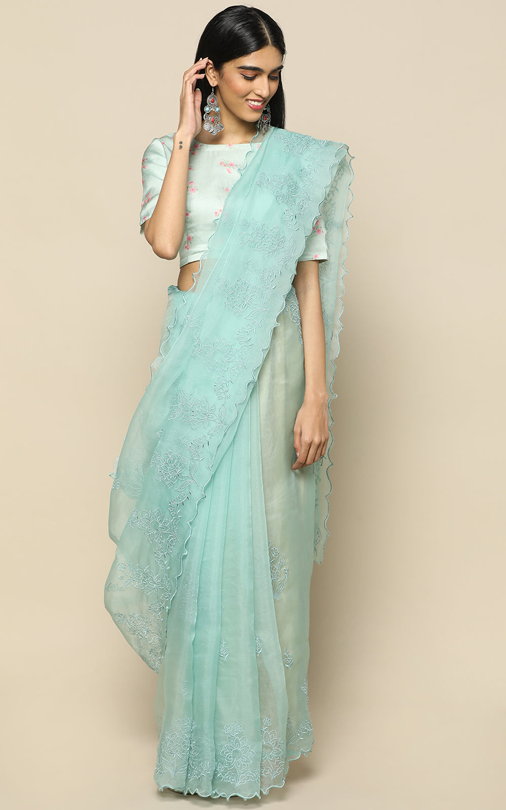 SEA BLUE ORGANZA  SILK SAREE WITH SELF COLOR EMBROIDERY