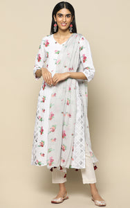 WHITE LINEN KURTHA WITH PRINTED FLOWERS AND PRINTED CHIFFON DUPATTA