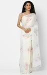 WHITE LINEN SAREE WITH CLUSTERS