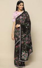 BLACK CHANDERI SILK SAREE WITH HANDPAINTED FLOWERS
