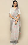 GREY ORGANZA SILK SAREE WITH PRINTED FLOWERS IN PASTELS