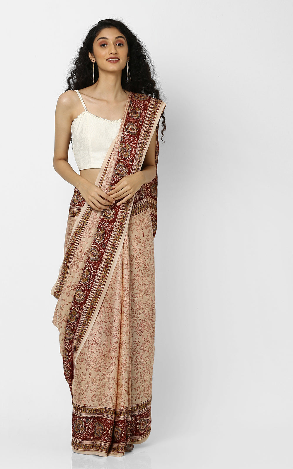 MODAL SILK SAREE WITH KALAMKARI PRINT