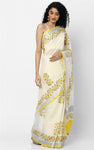 KERALA KASAVU SAREE WITH YELLOW HAND BLOCK PRINT