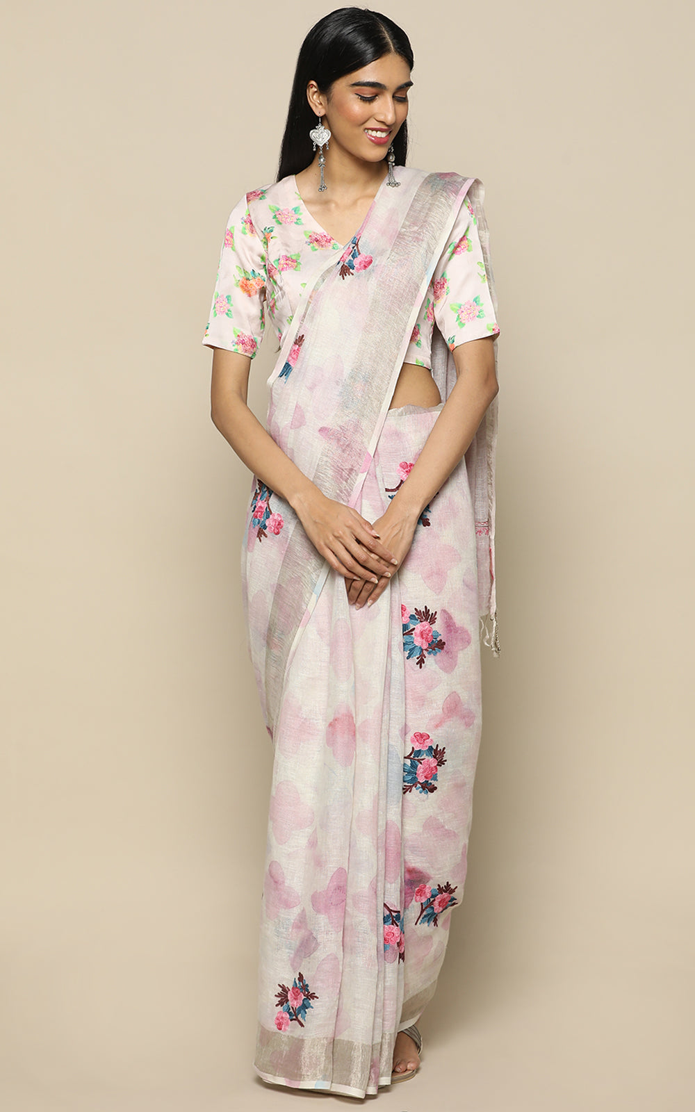 PINK LINEN SAREE WITH KASHMIRI HAND EMBROIDERY