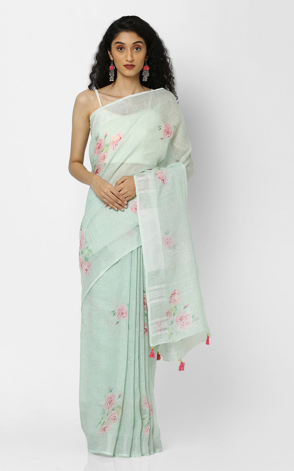 GREEN LINEN SAREE WITH CLUSTERS