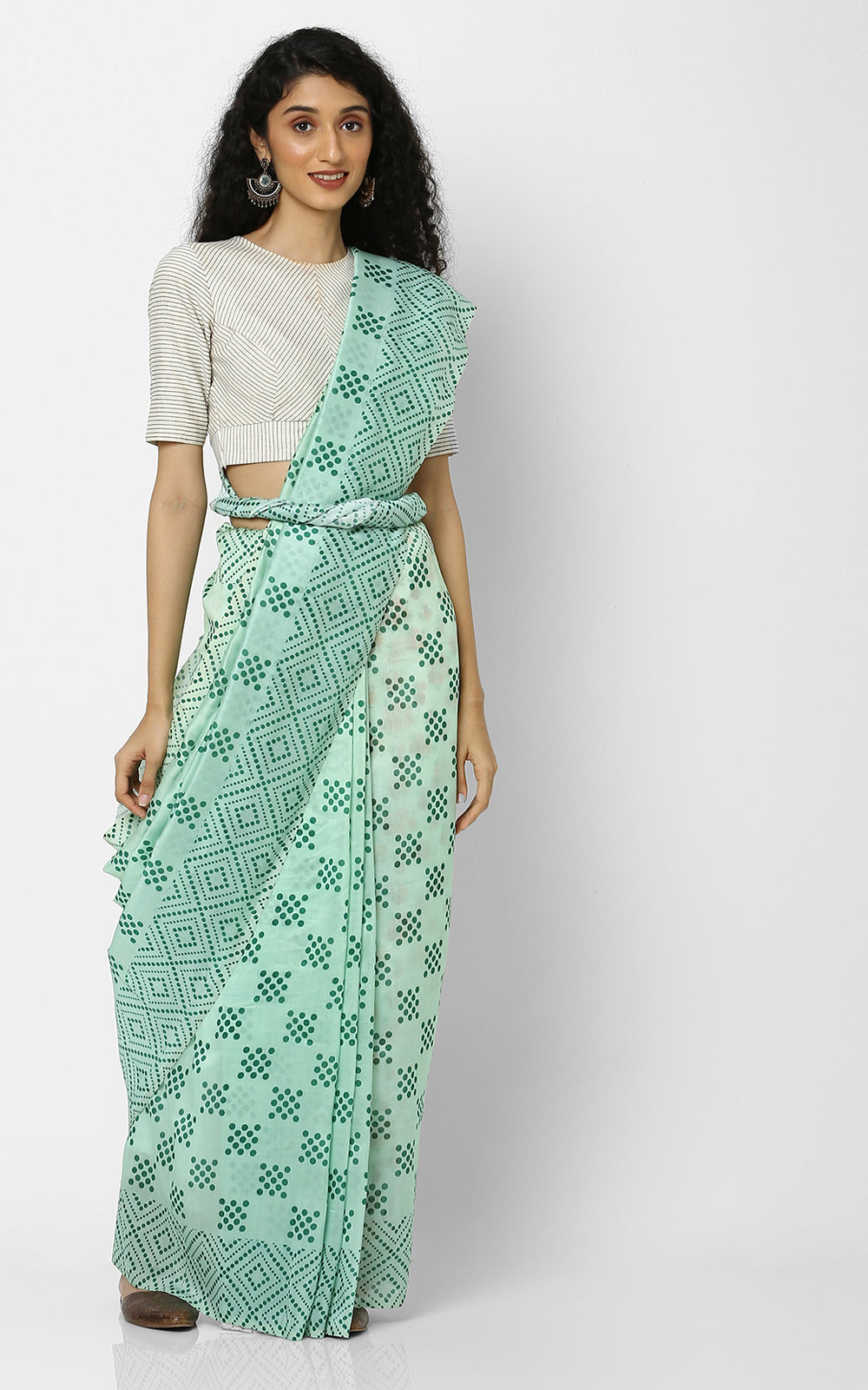 GREEN CHANDERI SILK SAREE WITH GEOMETRIC PRINTS