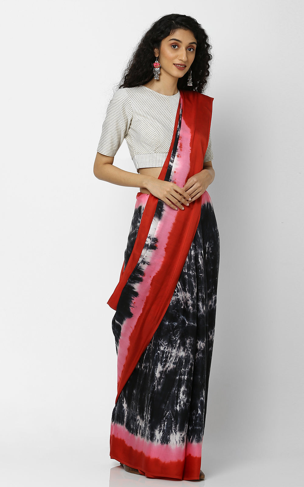 SHIBORI PURE SILK WITH RED AND BLACK BORDER