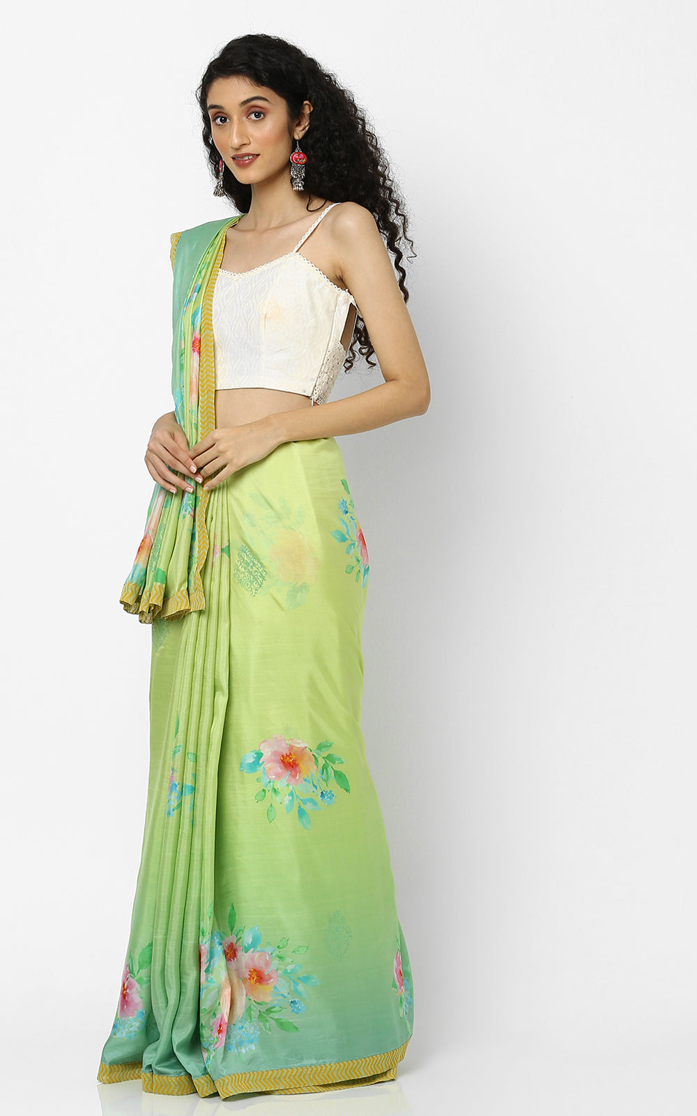 PURE SILK SAREE IN YELLOW AND GREEN