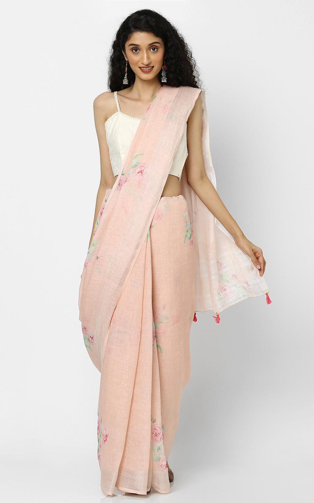 PEACH LINEN SAREE WITH CLUSTERS