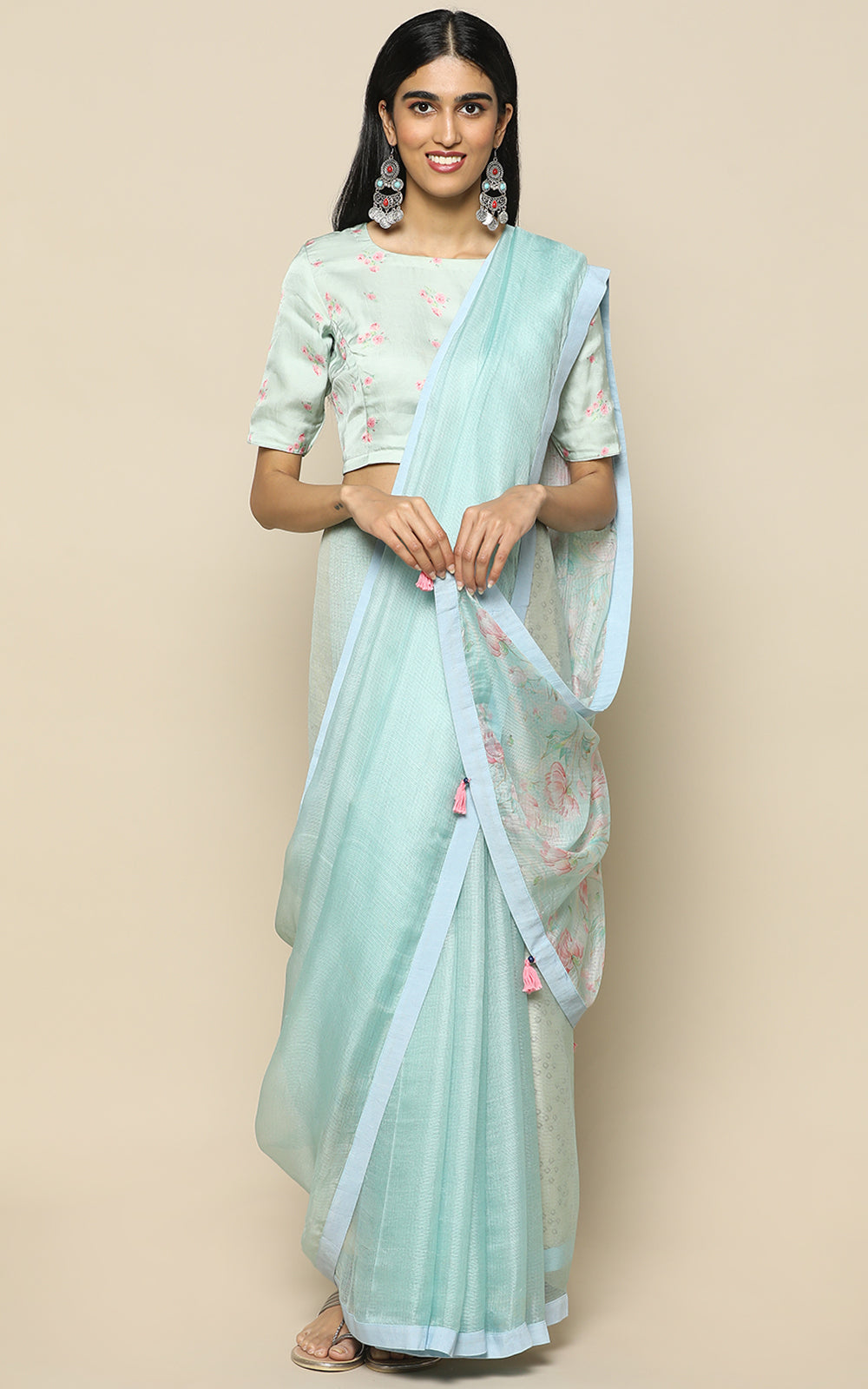 LIGHT BLUE KOTA SILK SAREE WITH PRINTED FLOWERS IN PASTELS