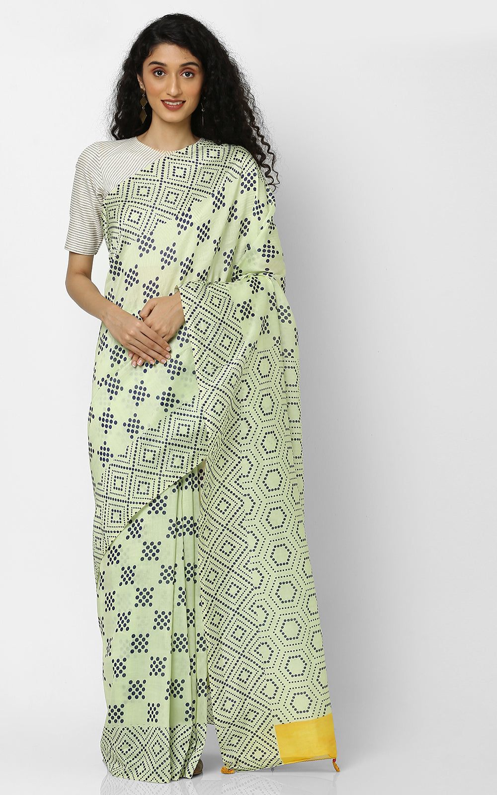 YELLOW CHANDERI SILK SAREE WITH GEOMETRIC PRINTS