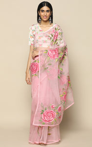 BABY PINK ORGANZA SILK SAREE WITH LIGHT PINK HANDPAINTED FLOWERS