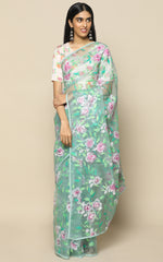 TEAL ORGANZA SILK SAREE WITH MAUVE HANDPAINTED FLOWERS