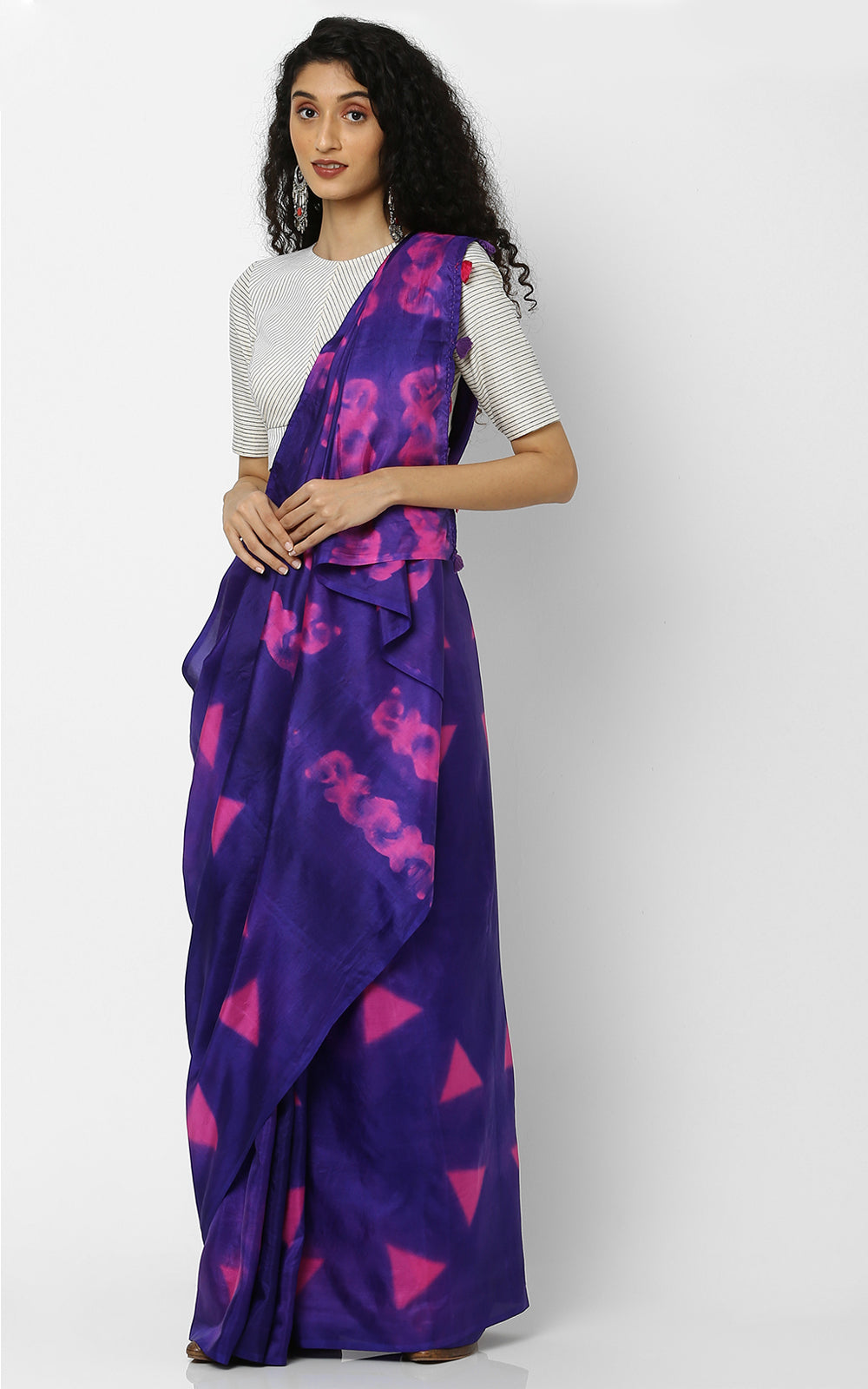 SHIBORI PURE SILK WITH PURPLE AND PINK
