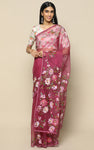 WINE ORGANZA SILK SAREE WITH MAUVE HANDPAINTED FLOWERS