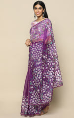 PURPLE ORGANZA SILK SAREE WITH HANDPAINTED FLOWERS