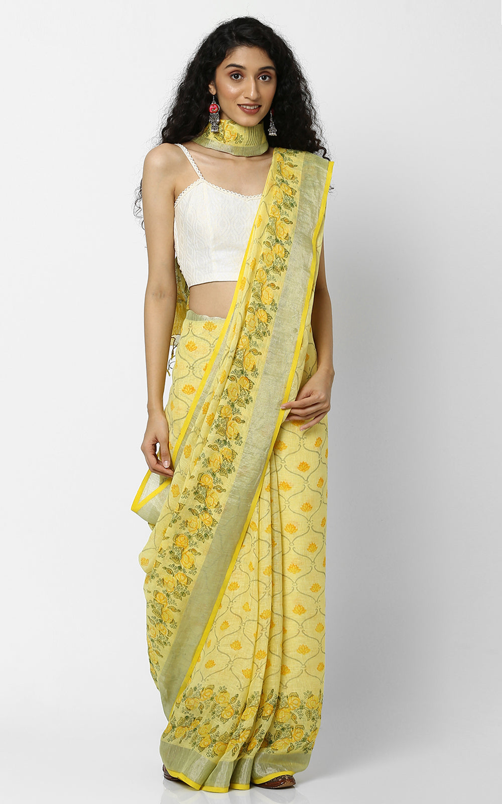 YELLOW LINEN SAREE WITH HANDBLOCK PRINT