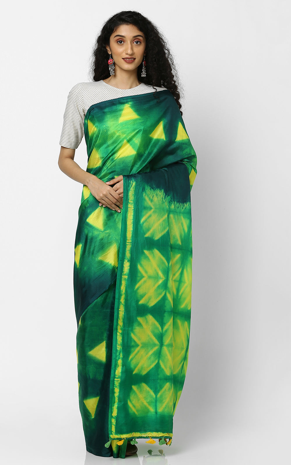 SHIBORI PURE SILK WITH GREEN AND YELLOW