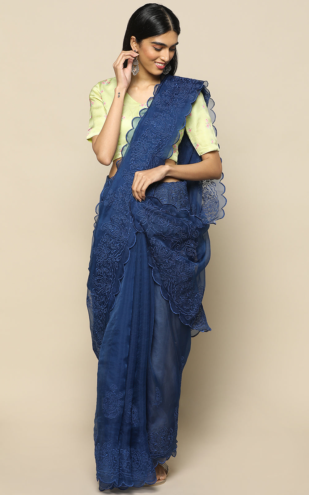 DARK BLUE ORGANZA SILK SAREE WITH EMBROIDERY