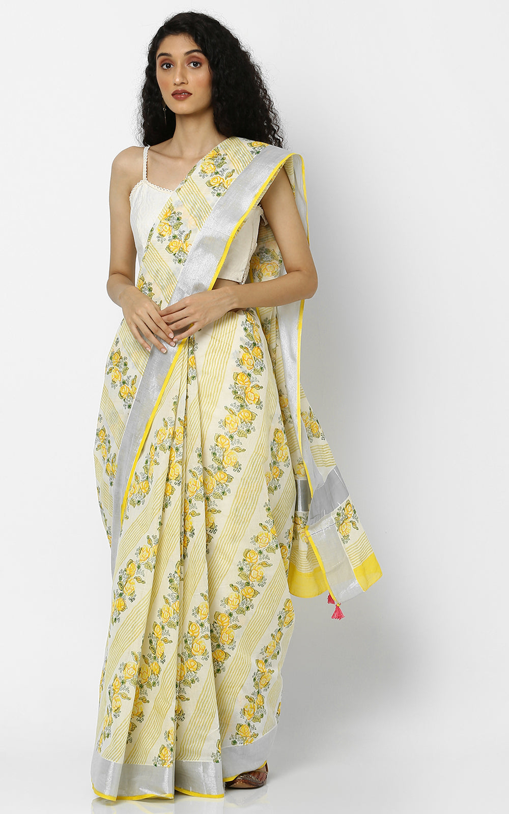 KARALA KASAVU SAREE WITH YELLOW HAND BLOCK PRINT