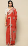 BRICK RED KHADI SAREE WITH KASHMIRI HAND EMBROIDERY
