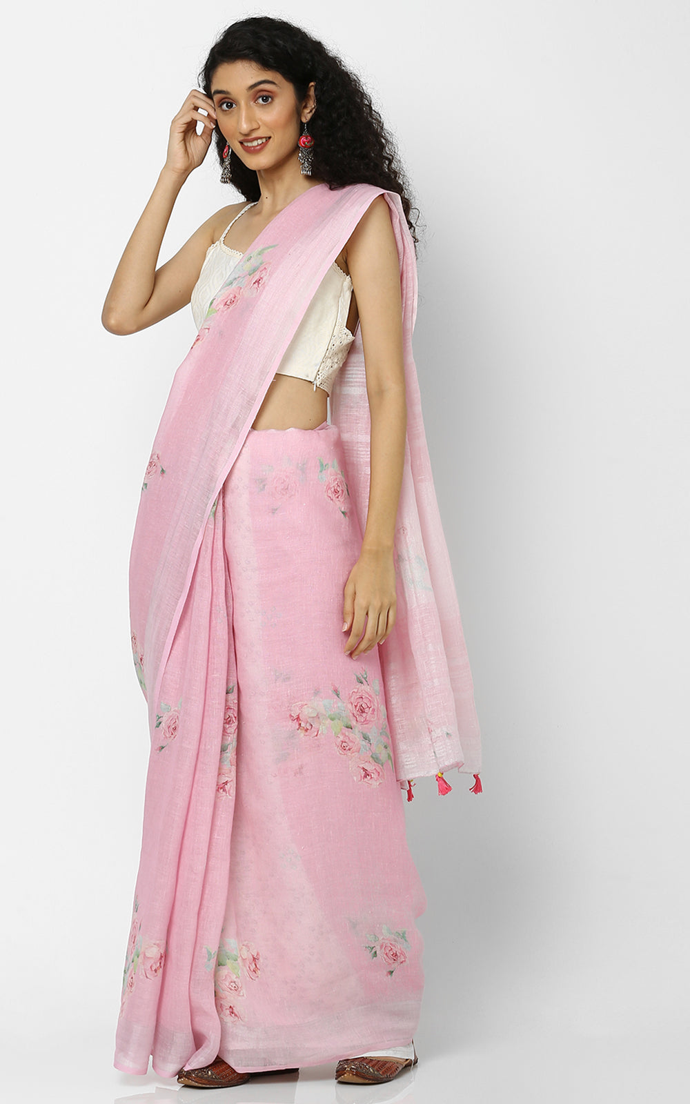 PINK LINEN SAREE WITH CLUSTERS