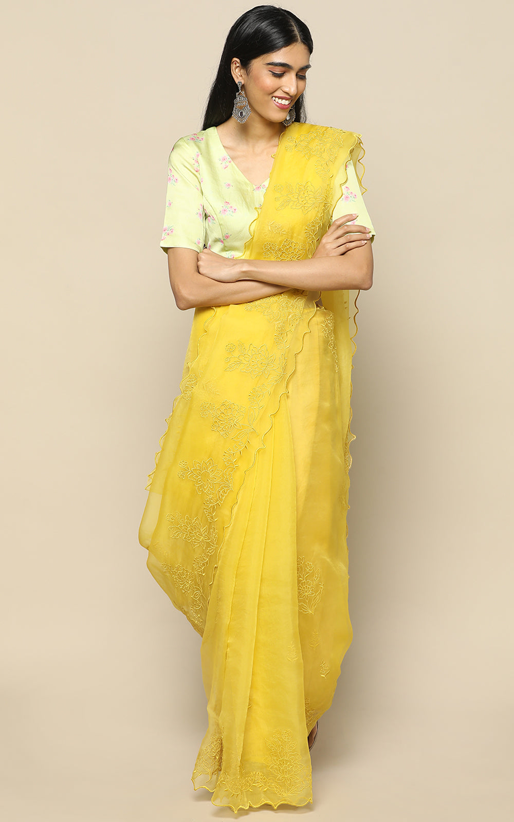 TURMERIC YELLOW ORGANZA SILK SAREE WITH EMBROIDERY