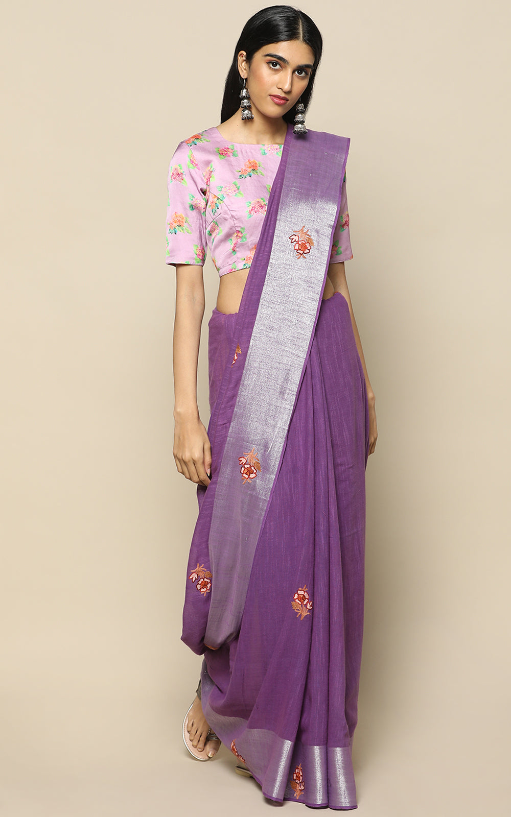 VIOLET KHADI SAREE WITH KASHMIRI HAND EMBROIDERY