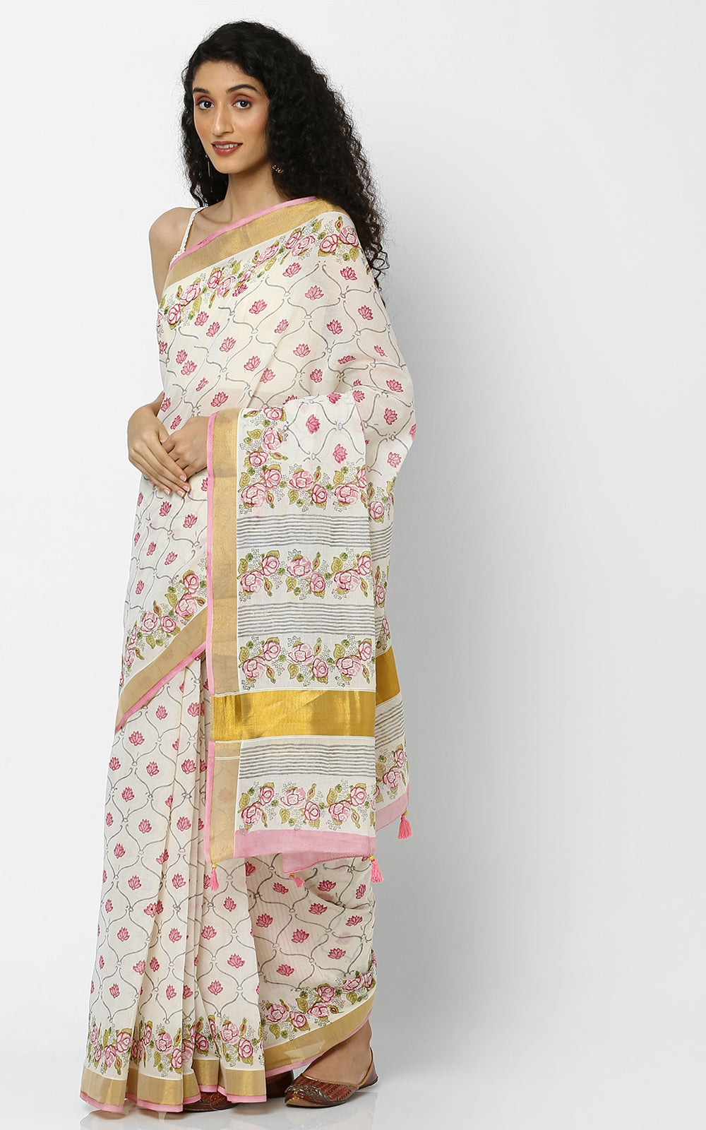 KERALA KASAVU SAREE WITH PINK HAND BLOCK PRINT