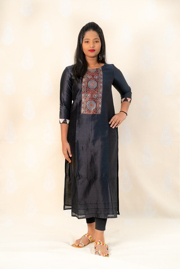 Long Black Chanderi Silk Kurta with Ajrakh - Tina Eapen Design Studio