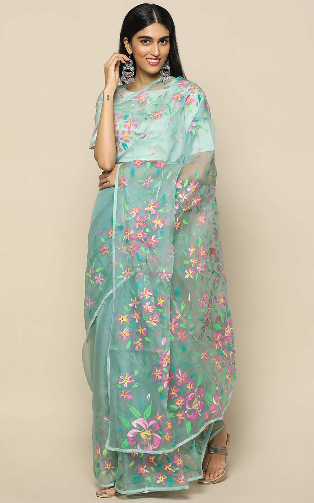 TEAL ORGANZA SILK SAREE WITH HANDPAINTED PASTEL FLOWERS