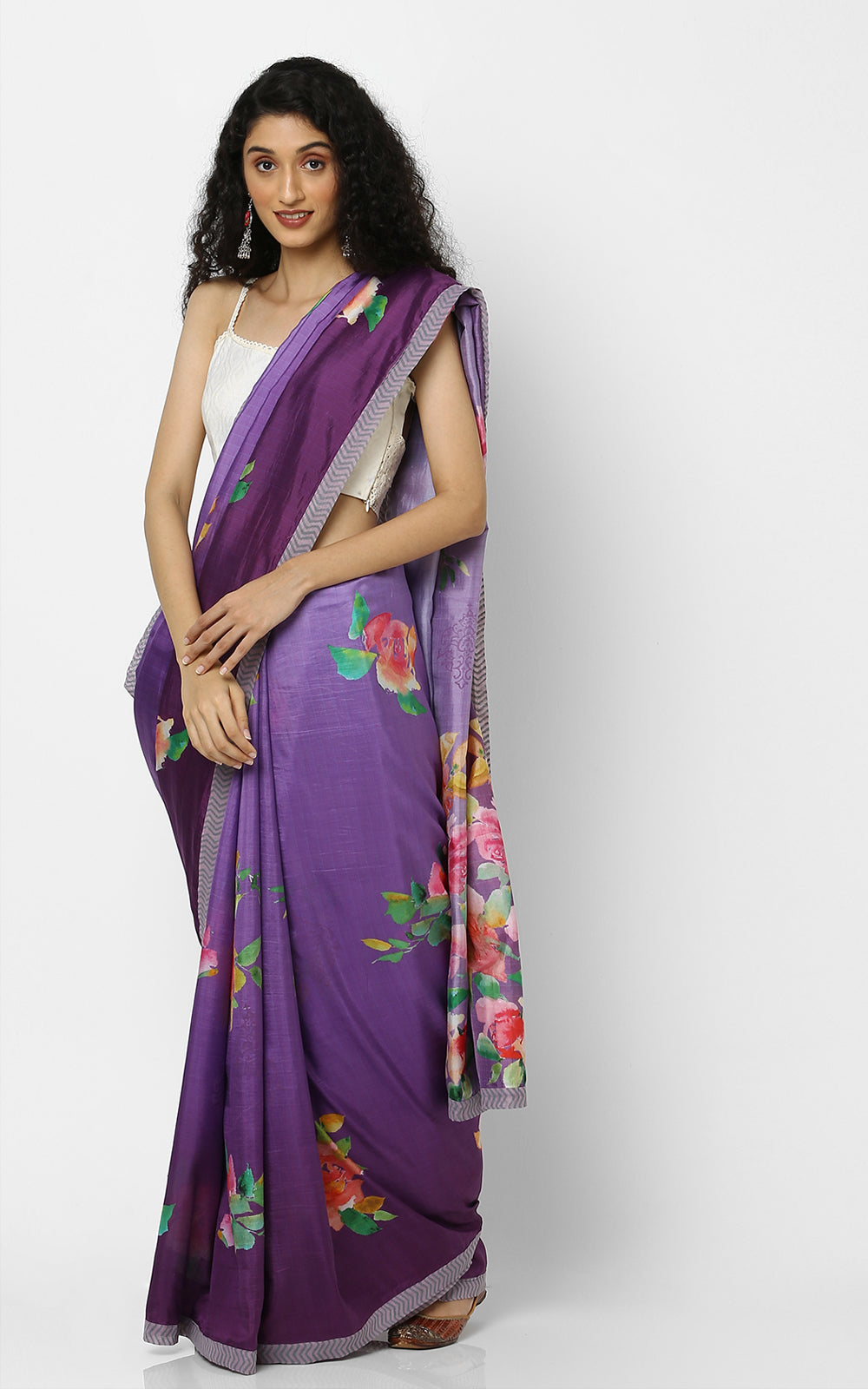 PURE SILK SAREE IN PURPLE AND PINK FLOWERS
