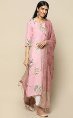 ONION PINK LINEN KURTHA WITH PRINTED LINEN DUPATTA