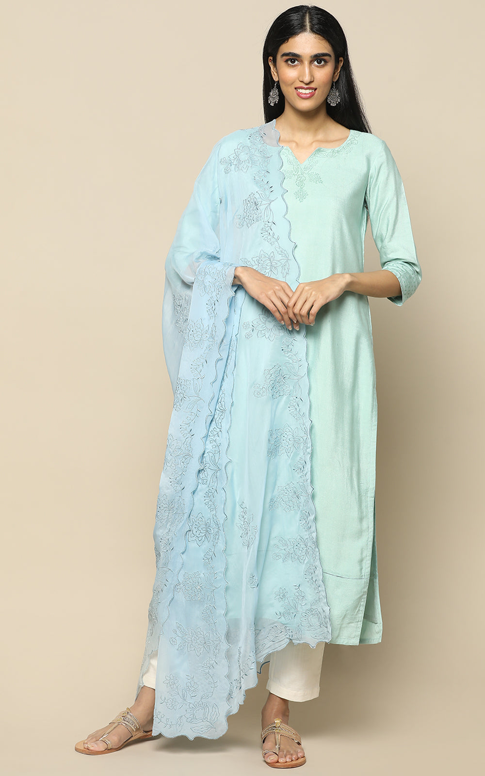 SEA GREEN BLUE STAPLE SILK KURTHA WITH BLOCK PRINT AND BLUE EMBROIDERED DUPATTA