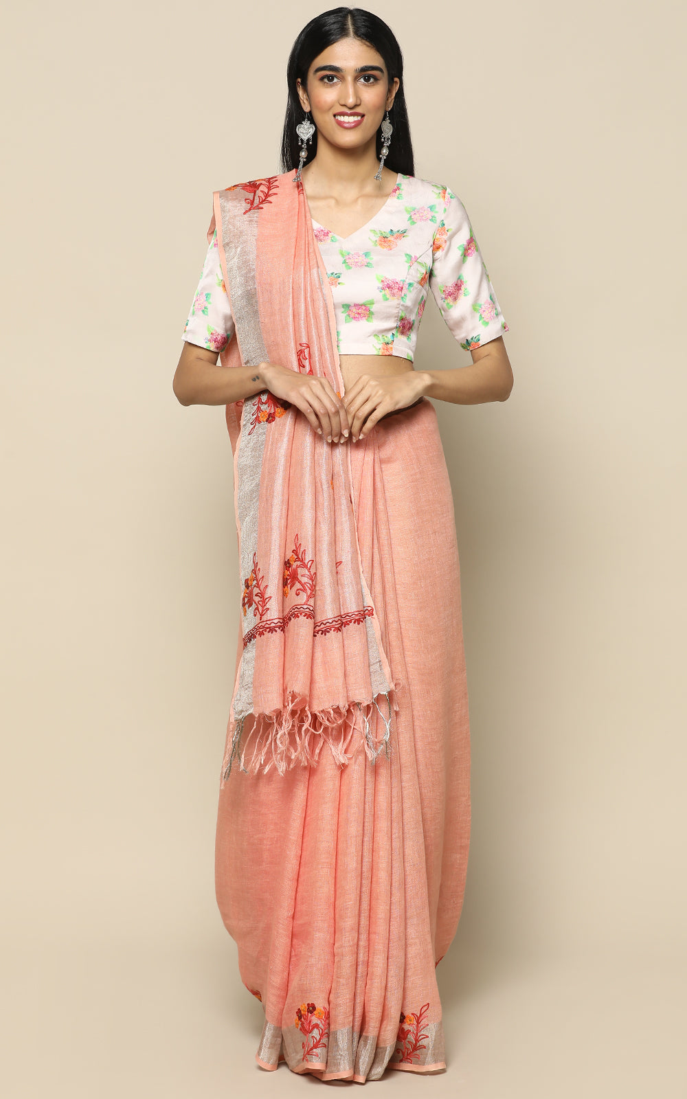 PEACH LINEN SAREE WITH KASHMIRI HAND EMBROIDERY