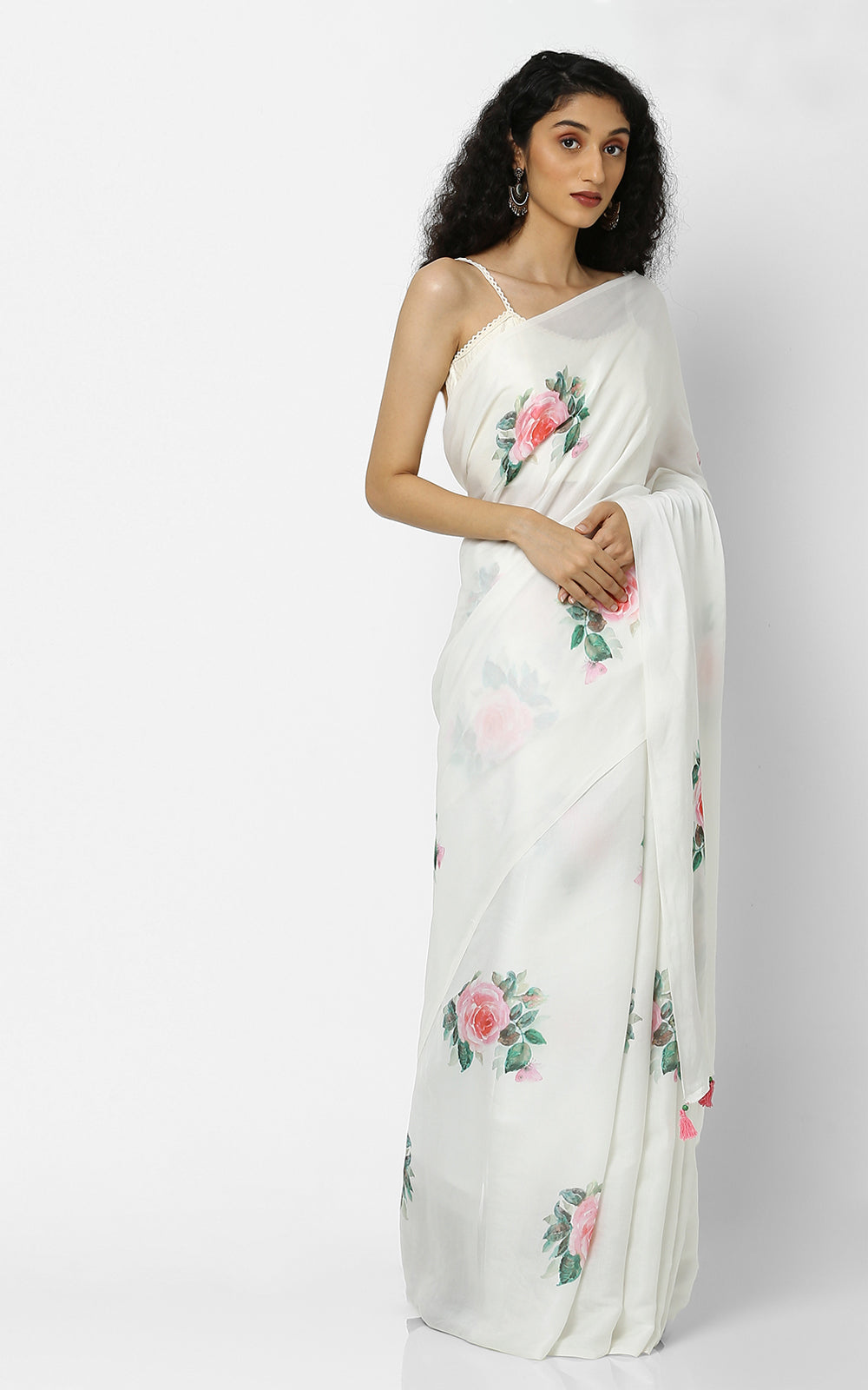 WHITE MODAL SILK SAREE WITH ROSES