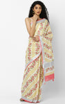 KERALA KASAVU SAREE WITH TOMATO RED DIAGONAL LINES IN HANDBLOCK PRINTS