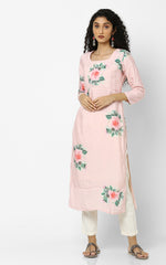 Pink Floral Kurtas With Mukaish Work -back