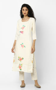 Red Roses Cream Floral Kurtas