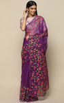 WINE ORGANZA SILK SAREE WITH HANDPAINTED FLOWERS